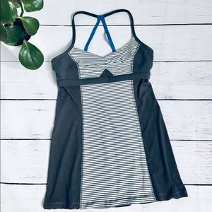 Lululemon Gray/striped fitted sports tank top xs